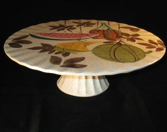 Red Wing Tampico hand painted cake stand/pedestal by Charles Murphy