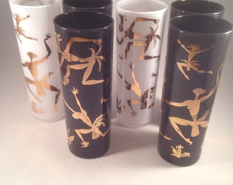 Set of 6 tall cased glass cocktail glasses with gold African figures