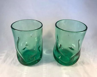 Pair of Blenko 418S Dimpled Tumblers in Antique Green