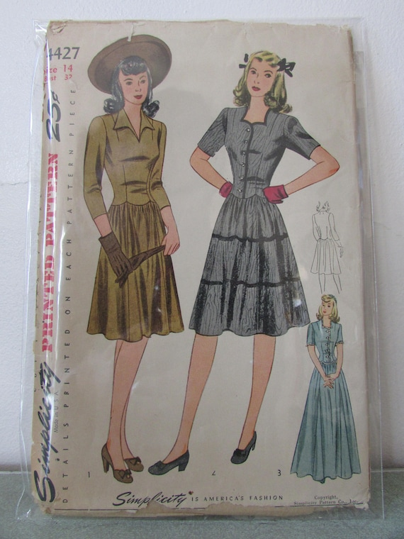 22/Schnittmuster 1940/s Vintage Kleid Simplicity Muster 1777.r5/14