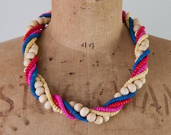 SALE Vintage 1980s colorful necklace, 80s wooden bead necklace, multi strand necklace, multicolor beaded necklace, boho statement necklace
