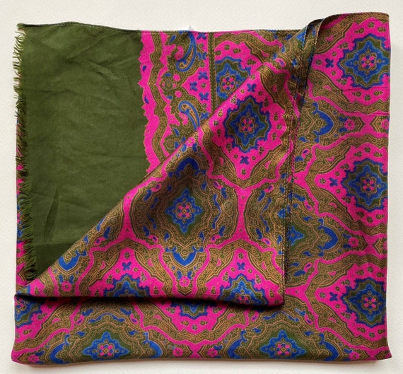 Mens Art Nouveau Purple and Green Pure Silk MOD Ev