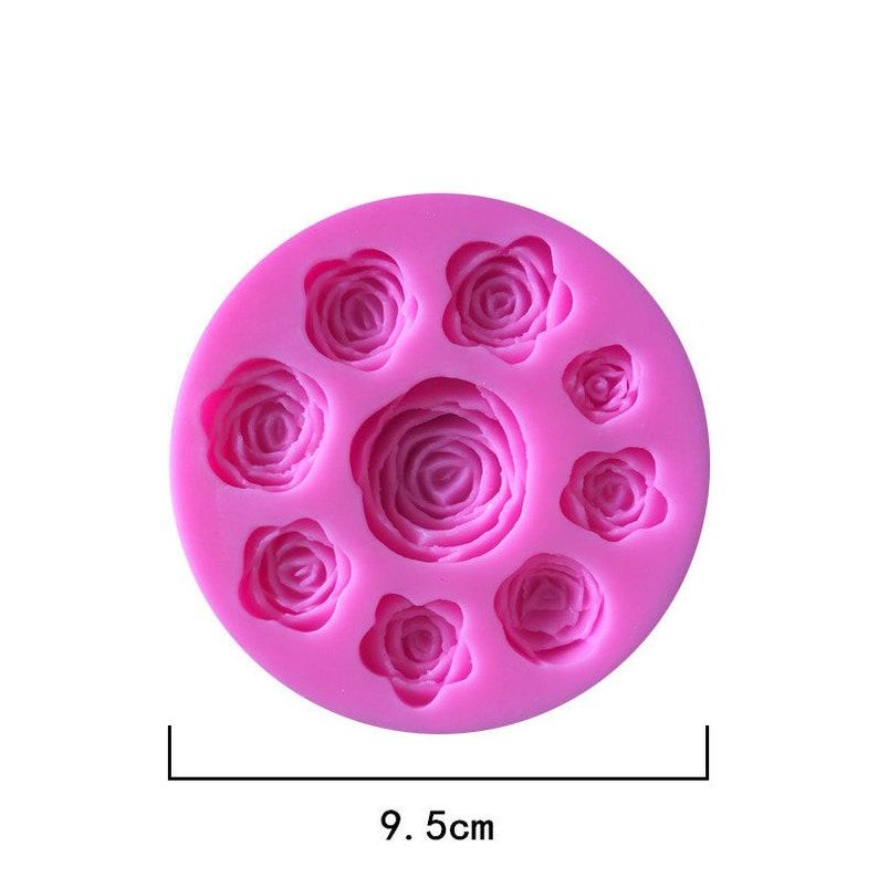 9.5cm MD/_FL/_18 3D Rose Roses Mold Set Flower Mold Flowers Mold in 9 Flowers Mold  Epoxy Jewelery Mold DIY Candle Soap Craft