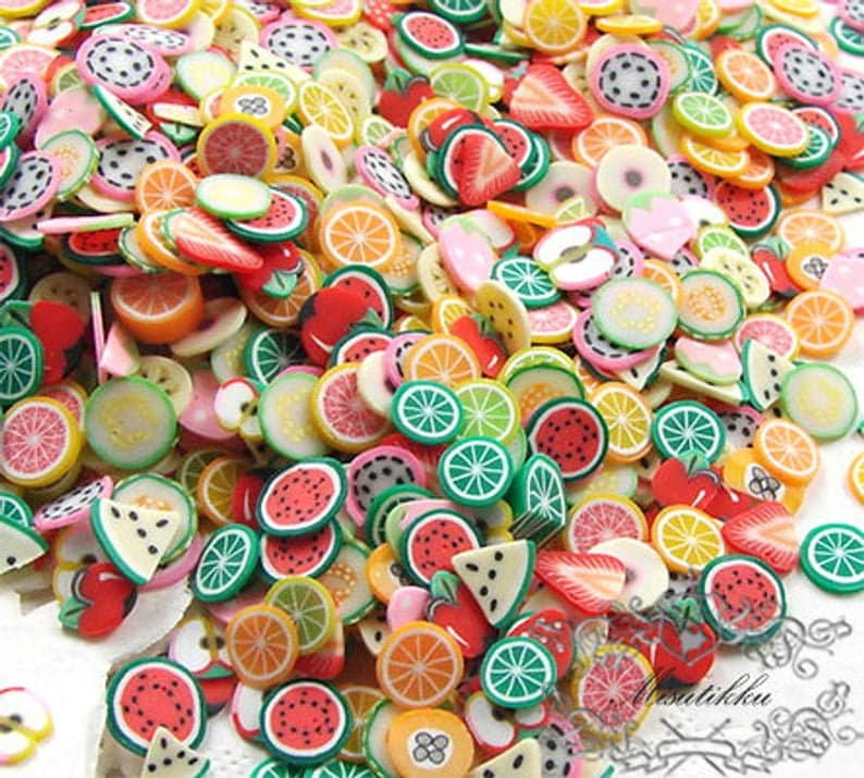 MB/_PS01/_M Set of 500 PCS Mix Polymer Clay Cane Slices Assorted Fimo Fruit Butterfly Bow Ribbon Heart Flower Sweets Nail Art Decoration PSC