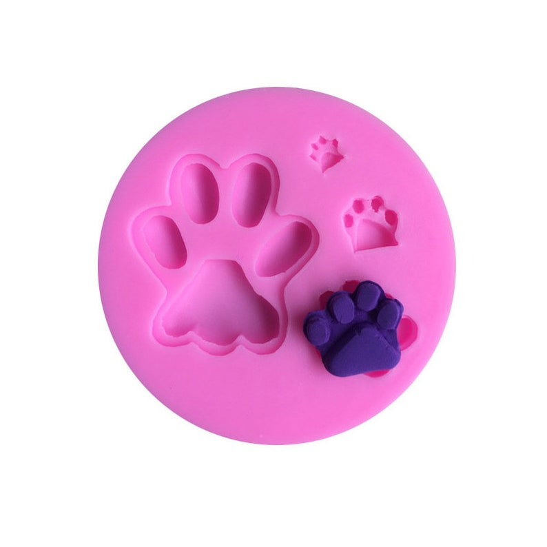 MD/_AM37 3D Bear Dog Paw Paws Mold Set Silicone Resin Mold UV AB Epoxy Jewelery DIY Candle Soap Craft 9cm x 1cm
