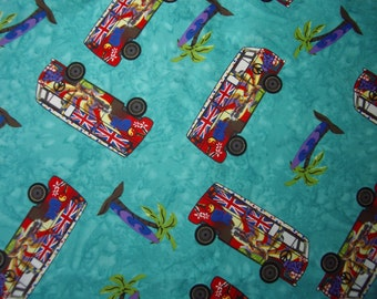 Campervan Cotton Fabric 5.3m CLEARANCE Turquoise Blue Surfing Motorhome Camper