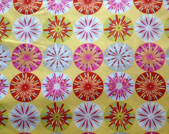 Kumari Garden Cotton Fabric Metre/Fat Quarter Yellow Sunburst Sashi Pink Dena Designs Free Spirit FREE UK POSTAGE