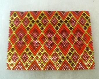 Beaded ACEO Coaster  - Red and Gold Diamond Interlock -  OOAK 1634