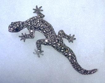 Vintage Silvery Lizard Pin or Brooch 1980s