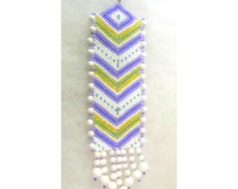 Bead Sun Catcher - Purple and White Chevron- Glass  Seed Beads - OOAK 1330