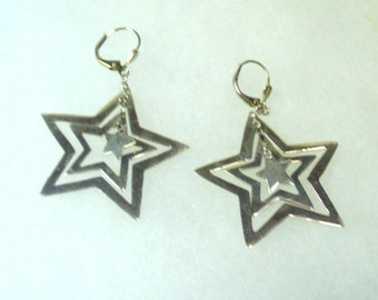 Vintage Cut Out Silver Star Earrings