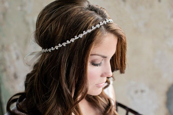 Skinny Rhinestone Wedding Headband Thin Diamond Bridal  48a4c23d3d1