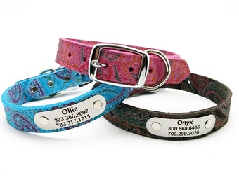 Paisley Suede Leather Dog Collar with Laser Engraved Personalized Nameplate