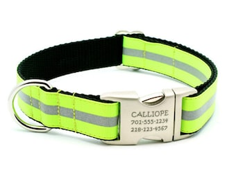 Reflective Dog Collar with Laser Engraved Personalized Buckle - NEON YELLOW