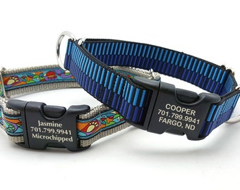 Combo Dog Collar with Laser Marked Personalized Buckle