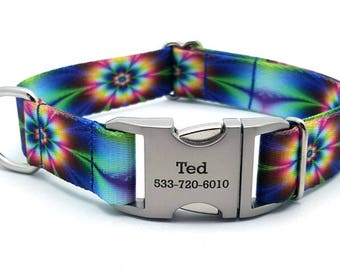 TIE DYE FLOWERS Polyester Webbing Dog Collar with Laser Engraved Personalized Buckle