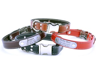 Side Release Buckle Personalized Leather Collar with Laser Engraved Nameplate