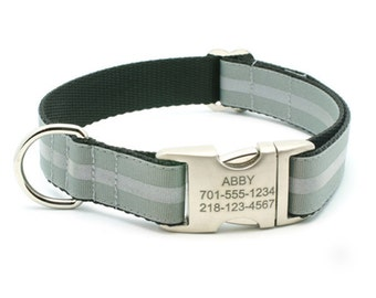 Reflective Dog Collar with Laser Engraved Personalized Buckle - DOVE GREY