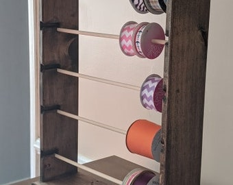 Ribbon Spool rack organizer for 4-5'' spools(WALNUT Stain)FREE SHIPPING
