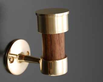 Polished Brass and Oiled Walnut Hook, In Stock Ready to Ship
