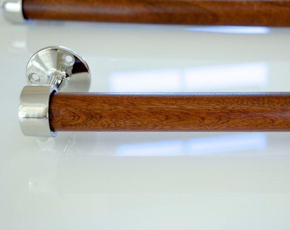 Polished Stainless Steel and Honduran (Genuine) Mahogany Towel Bar