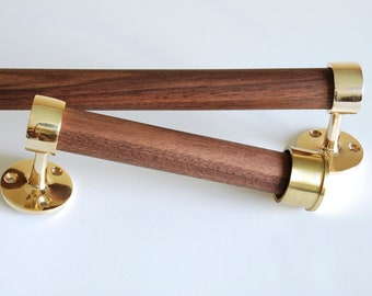 Polished Brass and Oiled Walnut Towel Bar