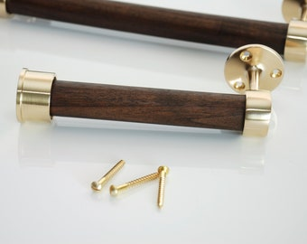 Brushed Brass and Smoke Brown Woca Oil Walnut Toilet Paper Holder