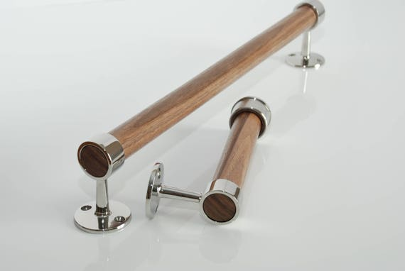 Polished Stainless Steel and Natural Walnut Towel Bar