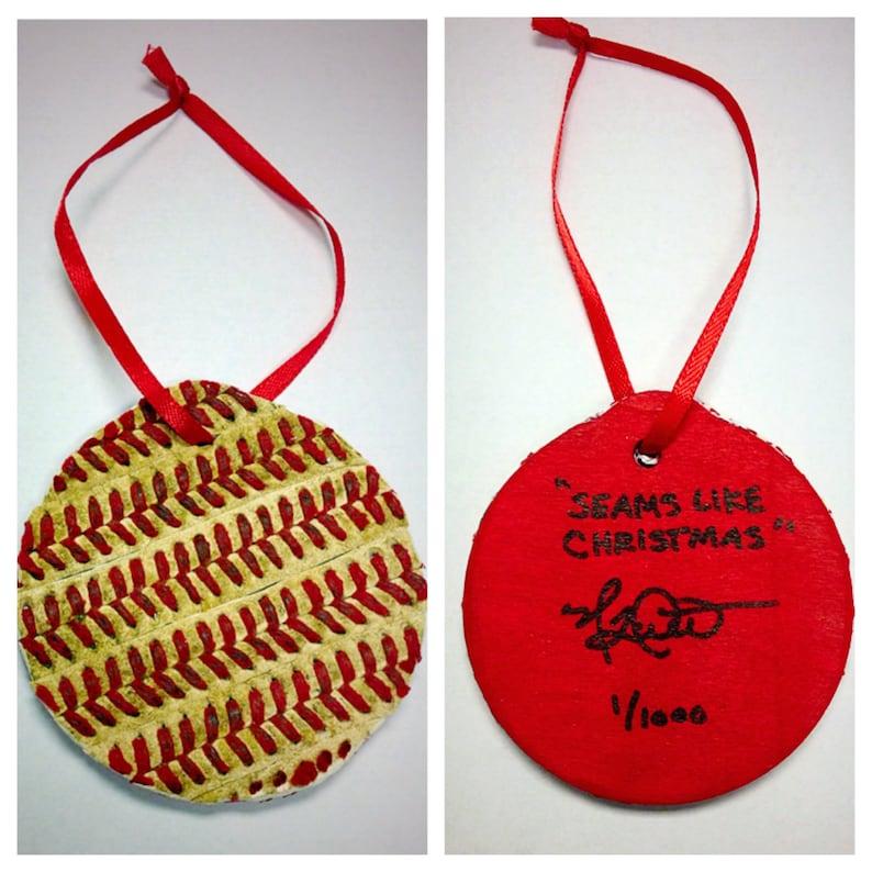1st Annual Limited Edition Baseball Christmas Ornament titled Seams Like Christmas mounted on Wood; a great Christmas Stocking Stuffer