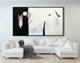 Extra Large Pink Abstract Art, Pink and Gray Abstract Painting, Minimalist Art, Canvas Wall Art, Modern Art, Framed Wall Art