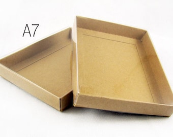 Greeting card boxes etsy a7 or lee kraft stationerygreeting card boxes with clear lid 7 38 x 5 38 x 1 m4hsunfo