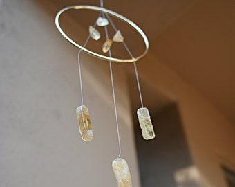 Raw Citrine Crystal Suncatcher - Housewarming Gift - Boho Home Decor Sun Catcher - Hanging Dreamcatcher - Healing Gemstones