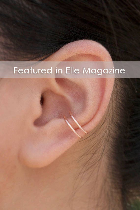 No Piercing Rose Gold Stackable Earring 18 Gauge Conch Etsy