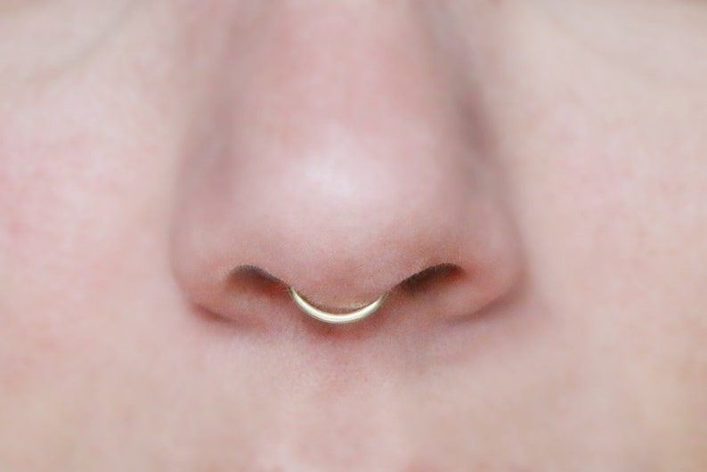 Silver Rose Gold fake nose ring tiny Gold minimalist NEW plain simple septum cuff Thick Peekaboo Fake Septum Ring SMALL HOOP 18 gauge