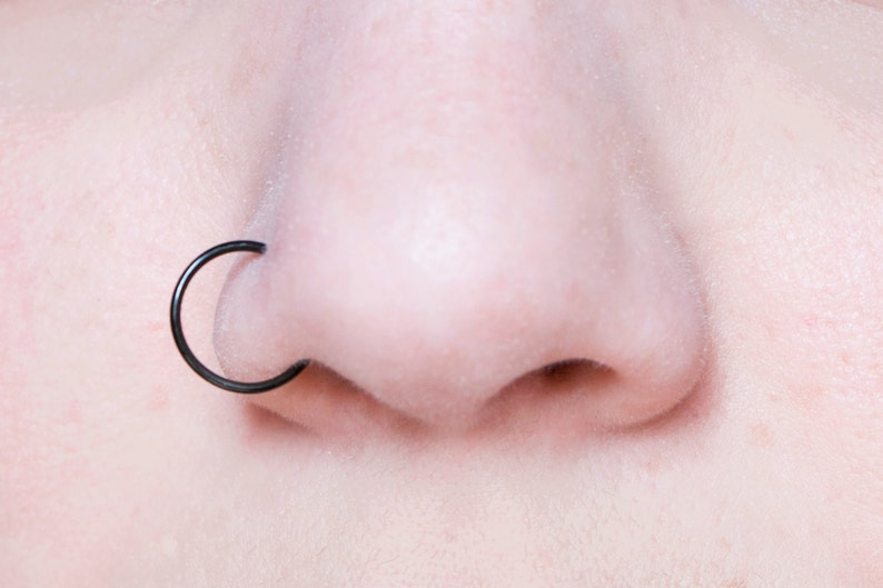 Extra Large Hoop Fake Nose Ring 20 Gauge Black Nose Cuff Etsy