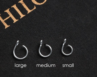 Fake Nose Ring - ALL SIZES - No Piercing Body Jewellery, 20 gauge, Gold, Silver, Rose Gold, Faux, Large Hoop, Small, plain, simple nose cuff