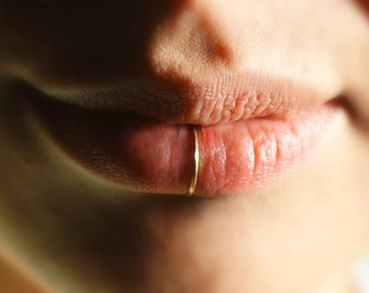 14k Gold Filled Lip RIng Cuff - No Piercing Required (fake lip ring) 20 gauge, plain, simple lip ring, faux piercing, fake piercing