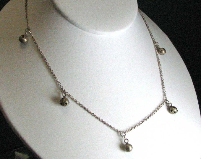 Artsy Sterling Silver Ball Necklace with a Gold Wash