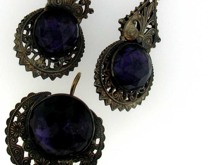 Vintage Victorian Brass Purple Glass Drop Earrings and Pendant Set