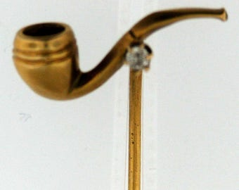 Vintage Gold Pipe Pin with Diamond