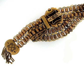 GOLD VINTAGE VICTORIAN  Bracelet with Mesh and Dangles