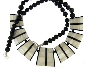 FANTASTIC Wood and Mother of Pearl Necklace and Earring Set