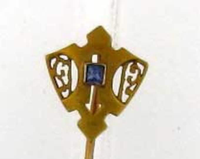 Vintage Art Neoveau Edwardian Gold Sapphire Cravat Pin