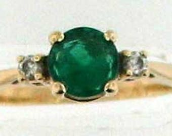 Classic 14K Emerald and Diamond Ring