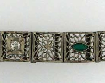 Vintage Art Deco White Gold Bracelet