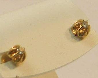 Vintage Diamond Buttercup Stud Earrings