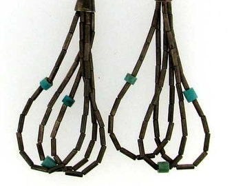Vintage Sterling Silver and Turquoise Rope Dangle Earrings