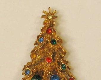 Vintage Retro Mid-Century Christmas Tree Brooch Pin, Orange, Blue Green