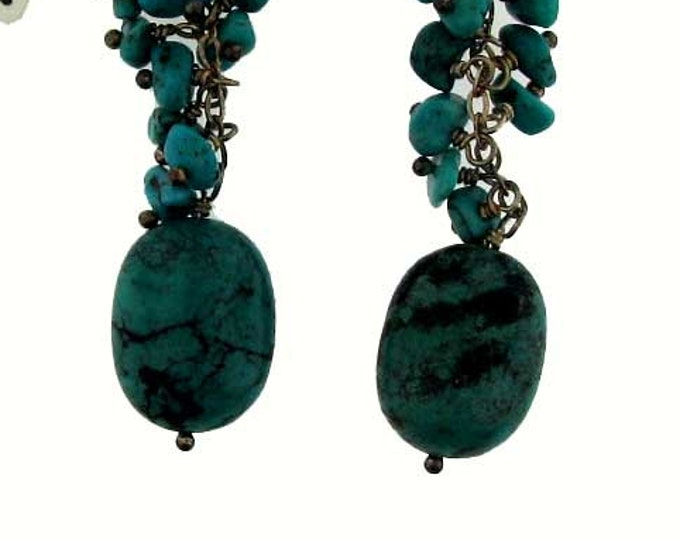 Vintage Greenish Turquoise Dangle Earrings with Silver Findings