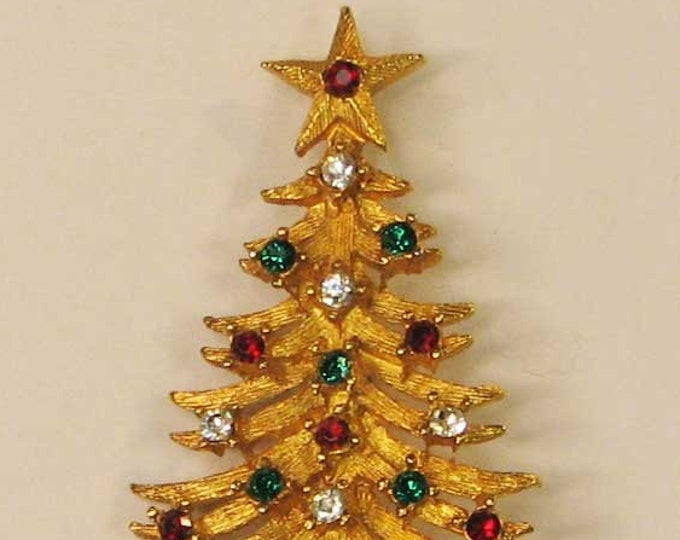 Vintage Retro Gold Christmas Tree Pin Brooch Red and Green